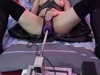 Fuck har at Milf in harness high heel boots fucked by fucking machine