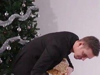 Teen kissing santa Santa