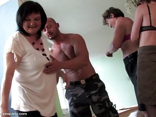 Shemale and guy sex Taboo group sex with three grannies and guy