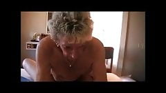 Very old horny granny riding her young boytoy cock