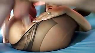 Sexy brunette fucked in pantyhose