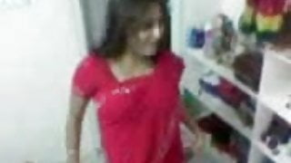 Red Saree College Girl has sex with Boy Friend