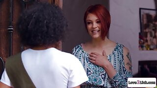 Petite ebony girl and busty redhead have roleplay lesbo sex