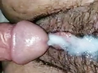Hairy pussy rubbed by dick