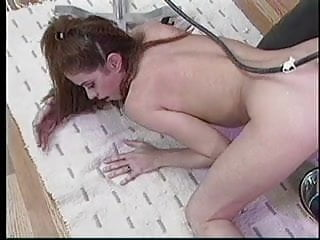 Machine pussy pump Brunette ass pumped with machine
