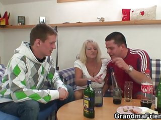 Xxx old granmas Party 3some with boozed blonde granma