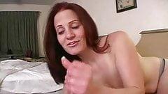 Redhead mature mom in her first handjob porn 1
