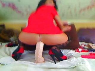 Dildo riding video - Webcam girl nice anal dildo riding