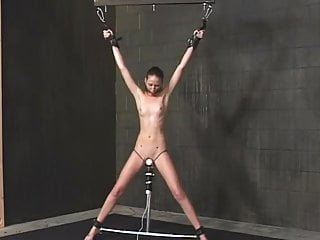 Lezdom forced orgasms Standing spread eagle bondage and forced to orgasm
