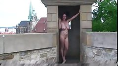 Pretty girl with giant huge saggy boobs naked on the street