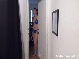 Bbw facesitting trampling Beautiful girl in blue bikini trampling and headscissor guy