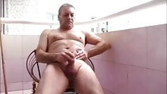 Wanking naked on display