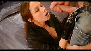 LEATHER JACKET AND LEATHER GLOVES BLOWJOB HANDJOB AND CUM