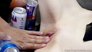 Tiffany trains her pussy with a can of Pepsi