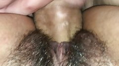 Hairy Girlfriend gets fucked from behind with a big cock