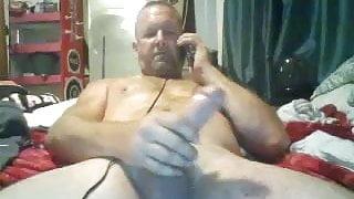 Macho dad wanks his big cock