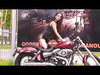 Porn on motorcycle - Sexy brunette strips on the motorcycle