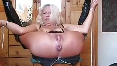 Check my MILF rough anal fisting and fucking Pissing a bit
