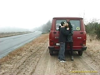 Fuck car babe Brunette babe fucked on street and sucking big cock