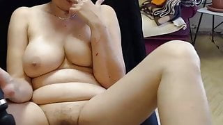 Mature with hairy pussy and big tits toying on c2c