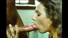 Retro babe with knockers blows for facial