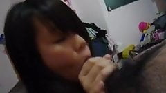 well trained asia teen eats cum after blowjob