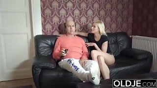 Grandpa fucking young pussy and giving her a big cumshot