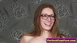 Tattooed british babe cocksucks before facial