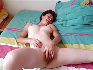 Jerking a cock - French slut wife cumming while jerking a cock