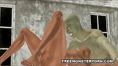 Busty 3D Brunette Sucks a Zombie Cock