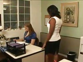 Lesbian black video - Busty lesbian black white office seduction
