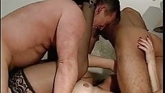 Raunchy redhead does two old dudes