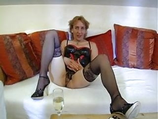 Ways for woman to masturbate - German woman in black stockings enjoys to masturbate