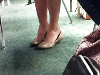 Wheel chair crash fetish Candid under chair dipping shoeplay feet blue toes 1