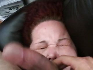 Nasty messy lipstick cum facials Cum whore cock slapped on couch with huge messy facial