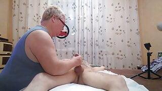 I'm jerking off his cock instead of massaging his legs