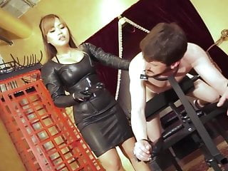 Captive slave leather gay Asian domina leather electric taser slave femdom