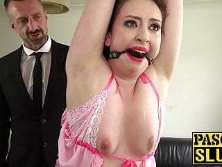 Spanking and anal Nasty subslut gagged for spanking and anal destruction