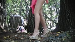 two girls pee the tree, spy voyeur, group-pee