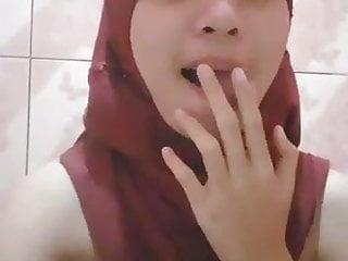 Teen girl touching herself Tudung girl - touching herself 01