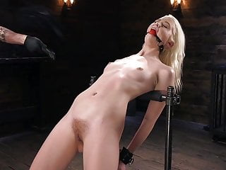 Porn on handheld device Young blonde slut in diabolical device bondage