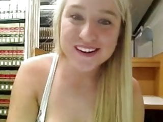 Hot teen on webcam in library Cute blonde masturbates in library