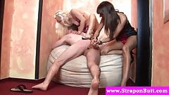 Fetish femdom duo annihilate dudes ass