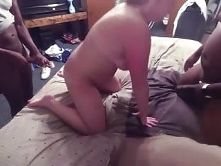 White pussy on black pussy White pussy fucked by 2 big black cocks