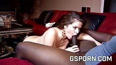 Hot busty milf creampied by hard black cock