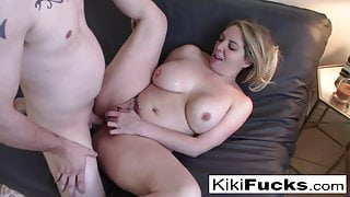 Sexy MIlf lets a younger tattooed lover fuck her silly!