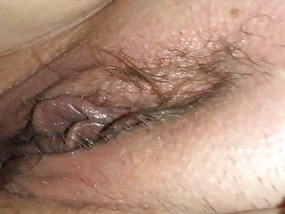 Bald lip pussy Playing with her wet big lip pussy before she pegs my ass