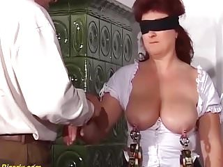 Busty pierced blonde - Extreme lesson with busty pierced german milf