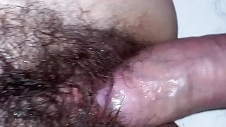 Fucking a hairy pussy in missionary