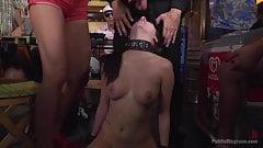 Petite Whore Rebecca Volpetti is coerced into Public Sex and